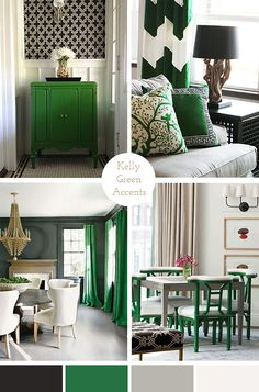 Kelly Green Accents And White Bedroom Grey Bright