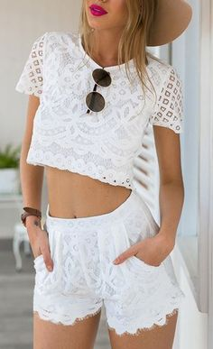 Hollow Out Lace Two-piece Set at Romwe - Trendslove
