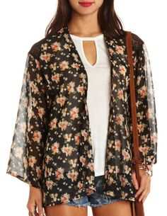 Lace-Trimmed Floral Print Kimono Top: Charlotte Russe