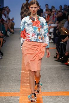 MSGM Gathered Wrap Skirt Coral on shopstyle.com