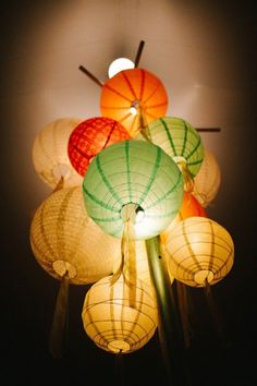 Hanging Chinese lanterns isn't anything new… but clustering them together in one big focal point is tres chic!