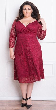 Curvalicious Clothes offer dresses for plus-size women in sizes Plus size clothing for full figured women. We carry young and trendy, figure flattering clothes for plus size fashion forward women. Curvalicious Clothes has the latest styles in plus sizes Plus Size Cocktail Dresses, Plus Size Formal Dresses, Plus Size Outfits, Lace Burgundy Dress, Lace Dress, Dress Red, Day Dresses, Dresses For Work, Dressy Dresses