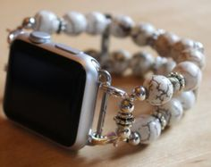 Apple Watch Band, Handmade Watch White Howlite Watch Band for Apple Watch Apple Watch Series 1, Apple Watch Bands, Cool Watches, Watches For Men, Mvmt Watches, Stylish Watches, Luxury Watches, Apple Watch White, Apple Watch Iphone