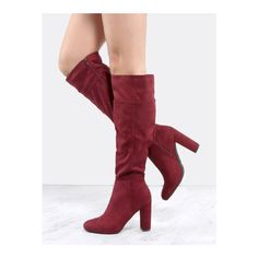 SheIn(sheinside) Faux Suede Chunky Heel Knee Boots BURGUNDY ($49) ❤ liked on Polyvore featuring shoes, boots, burgundy, faux suede boots, mid-heel boots, side zip boots, burgundy boots and thick heel boots