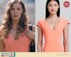 Laurel's peach v-neck dress on Arrow. Outfit Details: http://wornontv.net/20313 #Arrow #TheCW