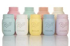Shabby chic, hand chalk painted Ball & Mason vase jar. Do Me a Favour product photography.