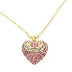Juicy Couture pink pave heart necklace Adorable in excellent condition!! Comes with original juicy box! Add instant charm and classic elegance to your ensemble with a heart shaped and stone encrusted pendant on delicate box chain necklace. A Juicy Couture embossed banner adds a signature touch. Make me an offer! 💕 Juicy Couture Jewelry Necklaces