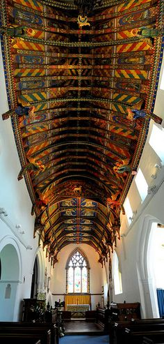Painted ceiling in small country church in Suffolk, England
