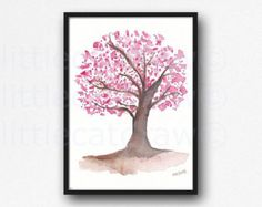 Cherry Blossom Tree Watercolor Painting Print by Littlecatdraw