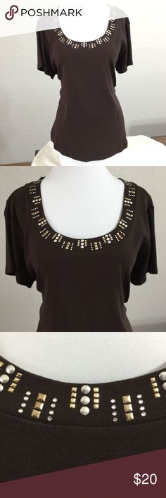 Brown Studded Top Very cool studded top to wear. You'll love the comfort of this tee.  Only worn twice in good condition. No rips or stains.  Wear it with white capris or shorts, super cute and easy to wear for those casual days at work.  Love the studs and tiny crystals.  Love the brand, and You'll love it. Style & Co Tops