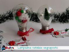 segnaposti natalizi con lampadine