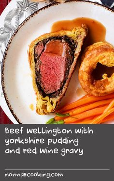 Beef wellington with yorkshire pudding and red wine gravy | According to folklore, this retro-dinner party dish is named after Arthur Wellesley, the first Duke of Wellington who fought Napoleon at the Battle of Waterloo in 1815 and who liked a similar dish. Wrapping meat in pastry actually dates back to Roman times – it was a way to keep meat moist and safe from contamination, and the pastry was never eaten. We've teamed the beef with another English favourite, Yorkshire pudding.