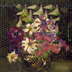 ❀ Blooming Brushwork ❀ - garden and still life flower paintings - Charles Rennie Mackintosh | Petunias, 1916