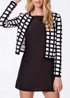 Black and White Long Sleeve Short Jacket
