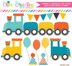 Boys Train Party Clipart – Erin Bradley/Ink Obsession Designs