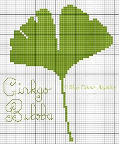 ginkgo biloba cross stitch point de croix