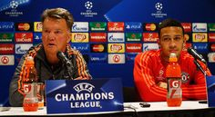EINDHOVEN, NETHERLANDS - SEPTEMBER 14:  Manchester United Head Coach / Manager, Louis van Gaal and Memphis Depay speak to the media during the Manchester United press conference held at the Philips Stadion on September 14, 2015 in Eindhoven, Netherlands.  PSV will paly Manchester United in their Group B match on 15th of September in Eindhoven.  (Photo by Dean Mouhtaropoulos/Getty Images)