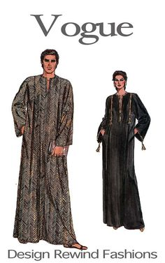 14,12 euro MENS WOMENS CAFTAN Sewing Pattern 1980s Vogue 8474 Bohemian Boho Pullover Neckline Slit Front Back Pleats Size Xs-Xl Unisex Sewing Patterns
