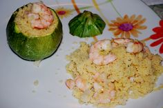 round courgettes stuffed with shrimp cous cous