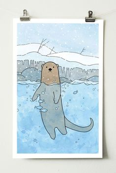 River Otter Nursery Art Print - studio tuesday