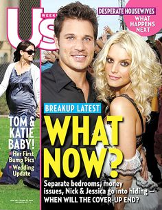 Jessica Simpson and Nick Lachey pose on the October 24, 2005 cover of 'Us Weekly' magazine