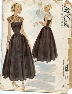 a756fc9b597 1940s McCall 7228 Misses  Tea Length Fit  amp  Flared Evening Dress Pattern  has Scalloped