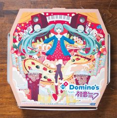 """Domino's Japan launched a campaign in March 2013 featuring Hatsune Miku, a singing synthesizer application with a humanoid persona. A free app allows users to manipulate the image and have Hatsune Miku """"perform"""" atop the pizza box. 5 Pizza, Pizza Boxes, Love Pizza, Pizza Logo, Guinness, Pizza Box Design, Perfect Pizza, Box Art, Packaging Design"""