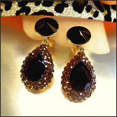 Formal Designer Crystal Earrings Black Rivolis w Topaz Paves $65
