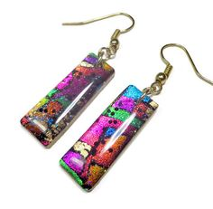Multicolor Statement Earrings polymer clay jewelry by BeadazzleMe