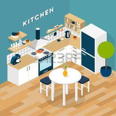 44931842-vector-isometric-kitchen-interior--3d-illustration.jpg (450×450)