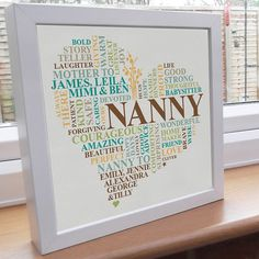 Printed grandparent gift. Personalised word art. by AliChappellUK, £15.00