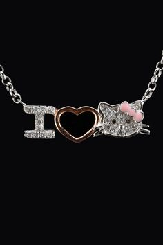 Silver & Co Sterling Silver & Zirconia I Heart Hello Kitty Necklace
