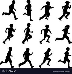 Children running vector image on VectorStock Sport Running, Kids Running, Silhouette Images, Silhouette Vector, Running Silhouette, Silhouette Photography, The Book Thief, Rainbow Painting, Silhouette