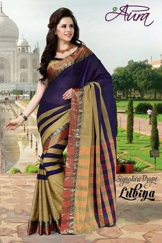 Blue and Beige Color Cotton Sarees for Occasions : Essence Collection