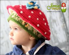 Crochet - Accessories - Hats, Hoods & Head Warmers This one-of-a-kind, absolutely adorable hat features a mushroom-shaped cap with a red top and lots of white speckles that bring it to life. The stem has a grassy look Crochet Hats For Boys, Crochet Baby Hats, Knit Crochet, Mushroom Hat, Crochet Mushroom, Double Crochet, Single Crochet, Toddler Photo Props, Pokemon