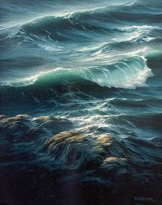 Surf, oil painting image of ocean waves. Byron Pickering art instruction builds confidence to master color, motion, and depth in seascape painting. Landscape Art, Landscape Paintings, Sea Storm, Waves Photography, Ocean Pictures, Wave Art, Sea Art, Sea Waves, Sea And Ocean