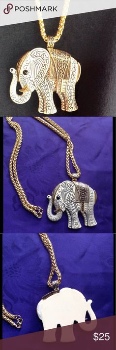 """Vintage elephant pendant Beautiful vintage pendant, chain is new. Pendant is 2.5"""" X 2.5"""". Bone color with black and gold accent. Not sure what it's made of. Chain is gorgeous and is 30"""". Price firm unless bundled.❤️❤️ Jewelry Necklaces"""