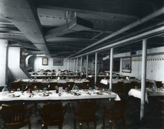 Titanic's third-class dinning room. vintage everyday: Titanic in Color – Photos of One of the Largest Passenger Liners of Its Time Rendered in Full Color