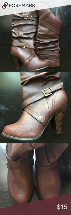 Brown faux leather heeled boots Gorgeous heeled boots from Target perfect for Fall! 🍂 Only worn once or twice so still in great condition! Tiny white marks shown in last two photos for reference. Size 9 Heel is approx. 3.5 inches tall Mossimo Supply Co Shoes Heeled Boots