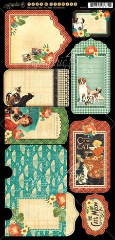 NEW Raining Cats & Dogs cardstock Tags & Pockets. In stores in August! #graphic45