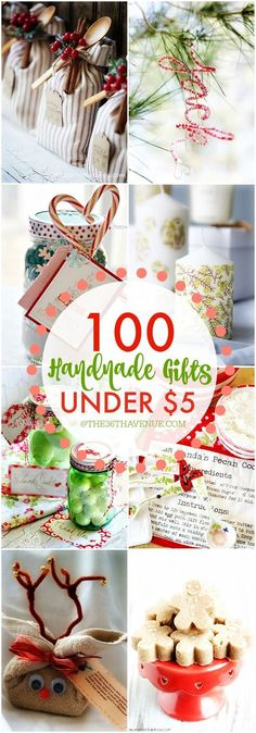 "On a budget, but still want to gift give? Over 100 Handmade Gifts that are perfect for Christmas gifts, birthday presents, and Mother's Day Gifts... These ""handmade gift ideas under five dollars"" are super easy to make, adorable, and affordable!"