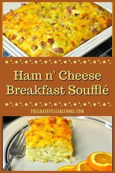 Ham and cheese breakfast souffle Egg Bake With Bread, Ham And Cheese Casserole, Breakfast Casserole With Bread, Baked Breakfast Recipes, Brunch Casserole, Brunch Recipes, Casserole Recipes, Keto Recipes, Ham Egg Bake