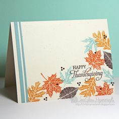 PTI Leaf Prints - would never have thought of adding Aqua Mist leaves, but doing that totally makes this card exceptional