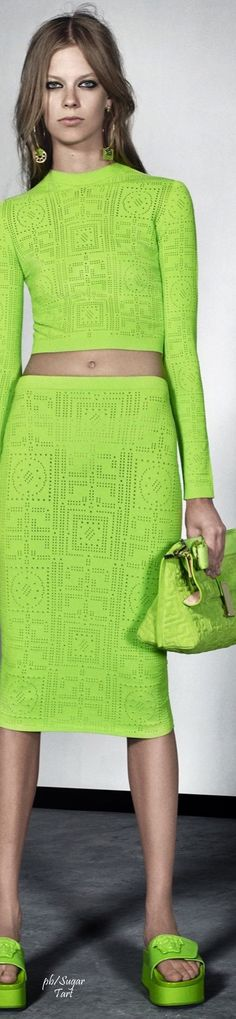 Versace Resort 2016 | House of Beccaria# cropped neon green top & skirt #UNIQUE_WOMENS_FASHION