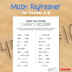 Whats missing? Use this printable worksheet to reinforce math concepts.