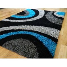 Black and Silver Rug, with Turquoise Accent