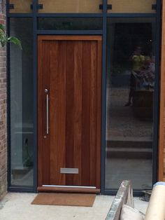 Vertical plank front door