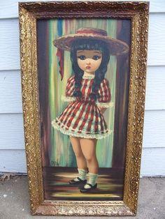 Vintage Eden Harlequin Canvas Painting Big Eyes Sad Hat
