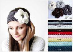 Crochet Headband Flower Headband Womens Headband by MintAndGlamour