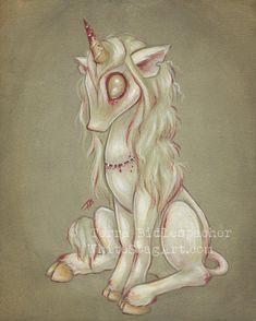Zombie goth undead unicorn print - girl fantasy artlowbrow  - cute big eye- Zombicorn